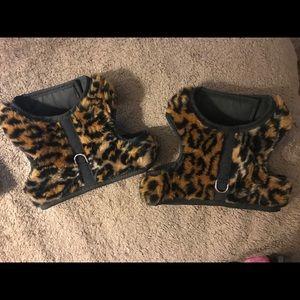 Leopard fur dog harnesses set Size Medium